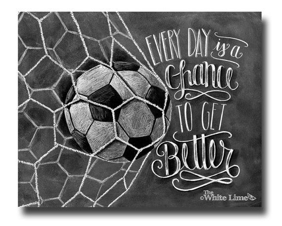 Soccer Art Soccer Decor Inspirational Quote by TheWhiteLime