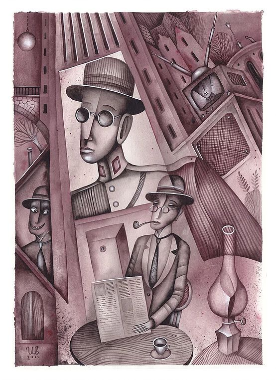 The Shadow by Evgeny Schwartz. Illustration by Eugene Ivanov #evgeny #schwartz #shadow #eugeneivanov #author #literature #russia #russian #writer #caricature #cartoon #literary_arts, #russian_writer #@eugene_1_ivanov