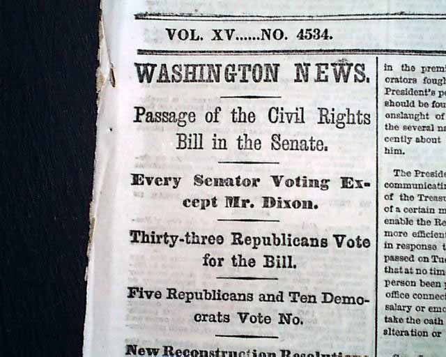 Looking Black On Today: In 1866 Black People Were Granted Citizenship When Congress Passed Civil Rights Bill of 1866