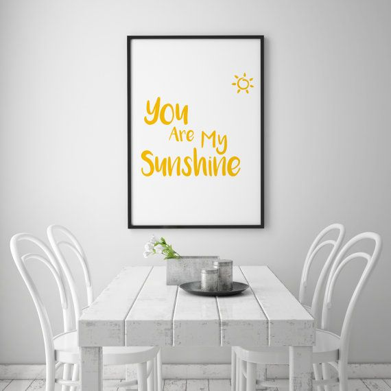 You Are My Sunshine - romantic, loving, fun wall art.  This digital download allows you to print your own wall art. There are 5 different sizes all included in the price, all standardized to make framing straightforward. The sizes are as follows: 8 x 10 11 x 14 16 x 20 18 x 24 24 x 36  The files are .pdfs and each contains the above quotation in YELLOW print. We also have physical cards to match, in yellow print and yellow glitter on smooth white board, at the following link:  https:/&#x...