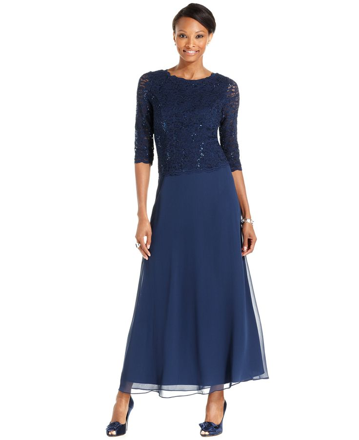 Alex Evenings Elbow Sleeve Sequined Lace Gown