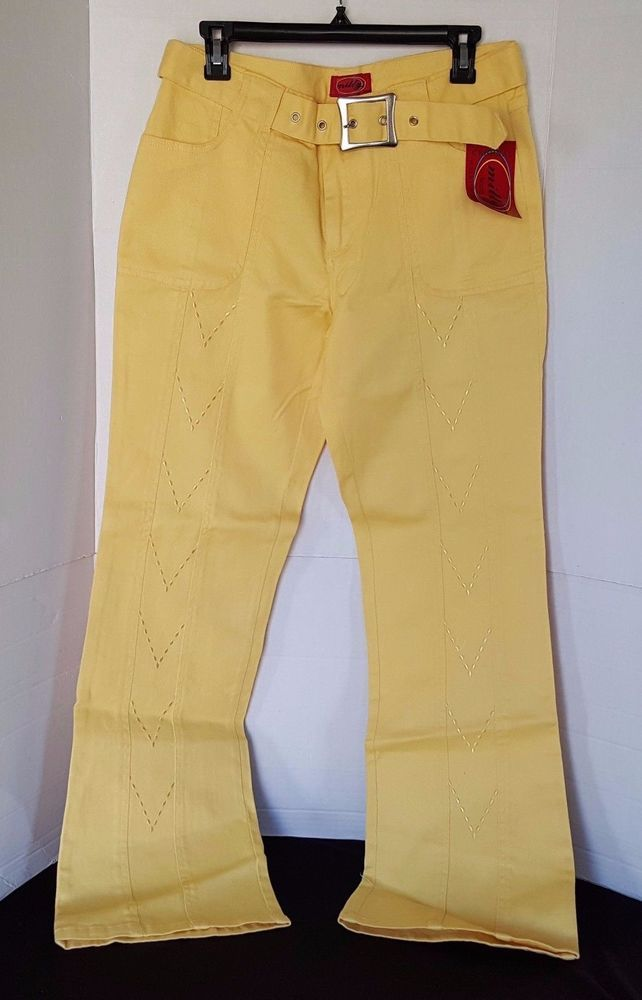 milly Jeans Womens Yellow Jeans with Belt Size 13/14 NWT #millyJeans #BootCut