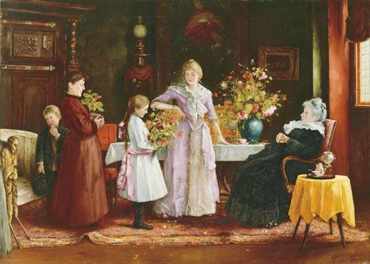 Rippl-Rónai József: A nagymama köszöntése (1890)