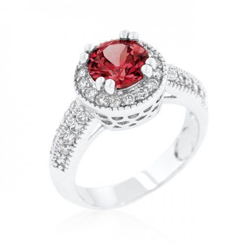 Garnet Halo Engagement Ring via Lioness's Lair Jewelry. Click on the image to see more!