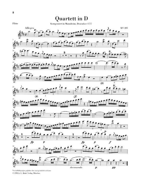 flute sheet music | sheet music extract mozart w a flute quartets for flute