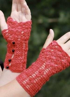 beautiful buttoned fingerless gloves by Dora Ohrenstein