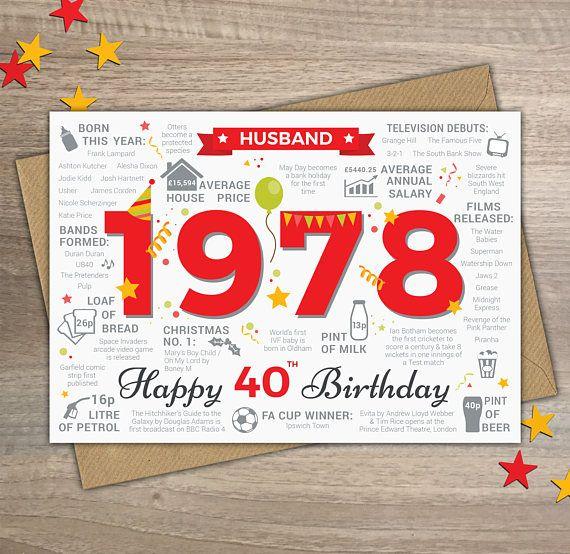 Happy 40th Birthday HUSBAND Greetings Card Born In 1978 Year