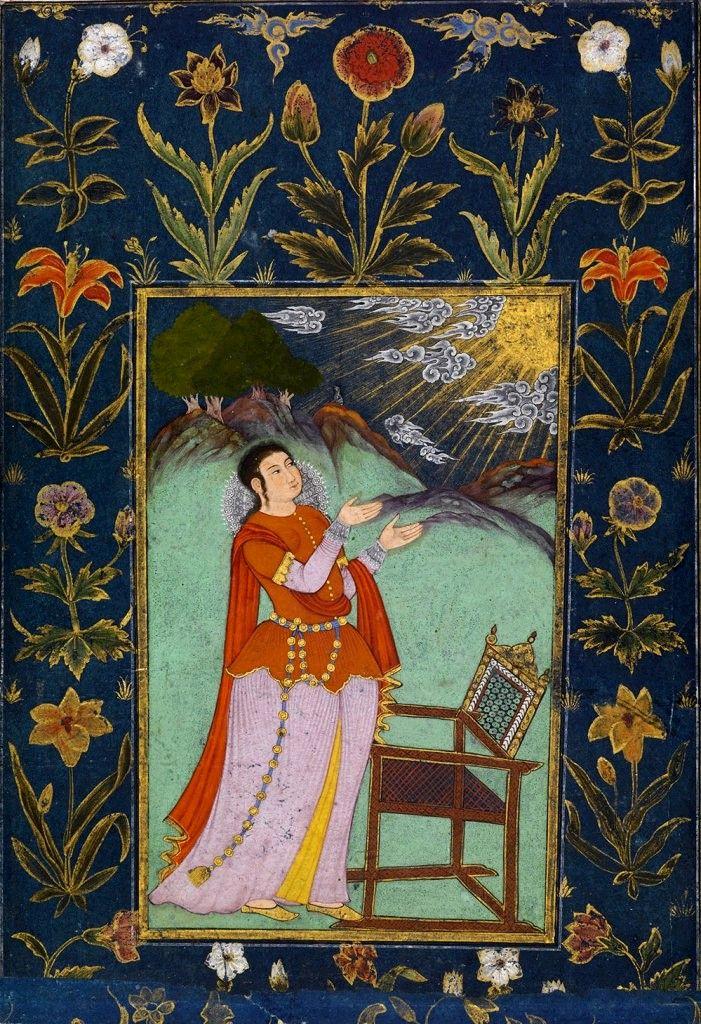 Woman Raising Her Hands Towards the Sun. ca. 1650 - 1660.  Indian, Deccan, Andhra Pradesh, Golconda.