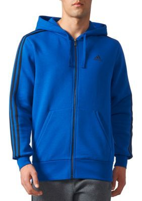 Adidas Men's Men's 3-Stripe Full-Zip Fleece Hoodie - Croyal/Bla - 2Xl