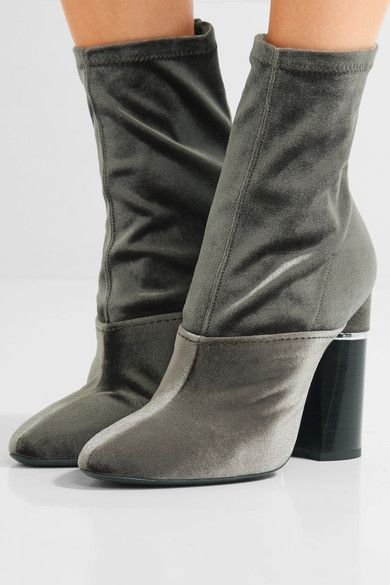3.1 Phillip Lim - Kyoto Stretch-velvet Ankle Boots - Sage green