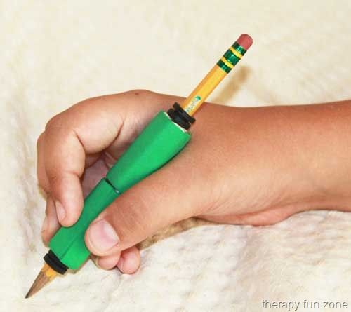 Making a Comfortable Weighted Pencil - Materials: Pencil, Coupling nuts size 3/8 -16, Rubber washer (or rubber grommet, or O-ring) ¼ x 1/2 x 1/16, Sticky back craft foam