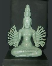 """7"""" HAND-CRAFTED NATURAL GREEN JADE 17th CENTURY 20-ARMS KHMER DEITY SCULPTURE"""