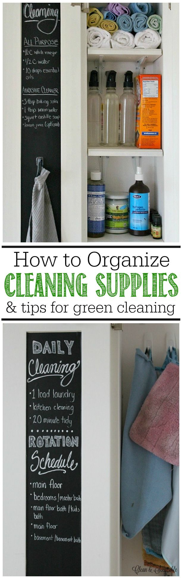 Great post on how to organize cleaning supplies and basic green cleaning tips. Chalkboard with Chalk Ink Markers.