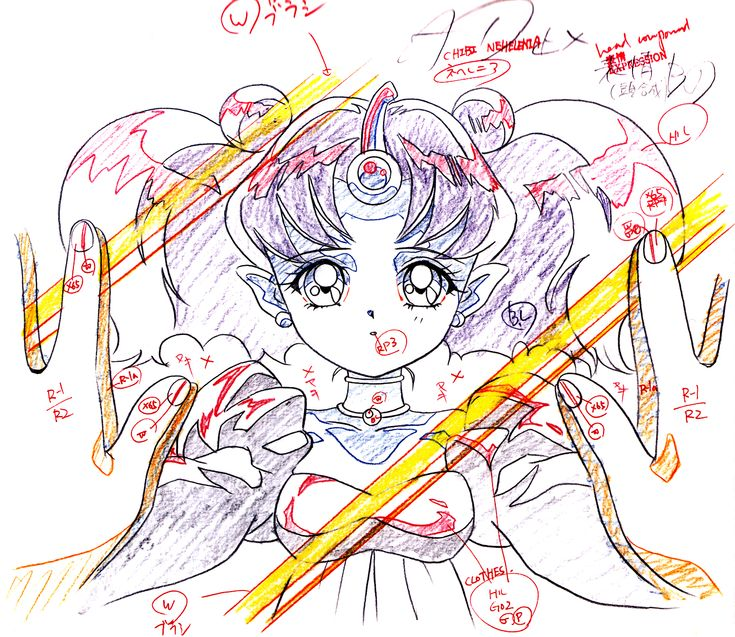 "Animation sketch of young villain Queen Neherenia from ""Sailor Moon"" series by manga artist Naoko Takeuchi."