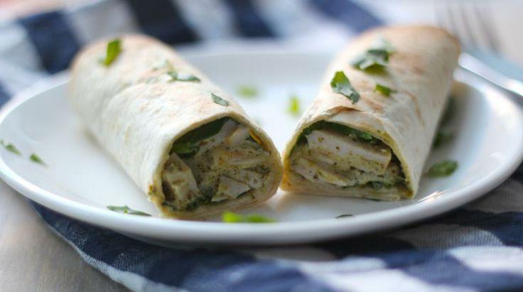 Kip-pesto wraps met spinazie - Lekker en Simpel