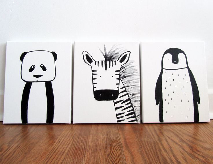 "Set of three - Modern Kids and Nursery Art Original Paintings 16"" x 20"" on 3/4"" depth canvas - Custom (Your choice of 3 animals/colours) via Etsy"