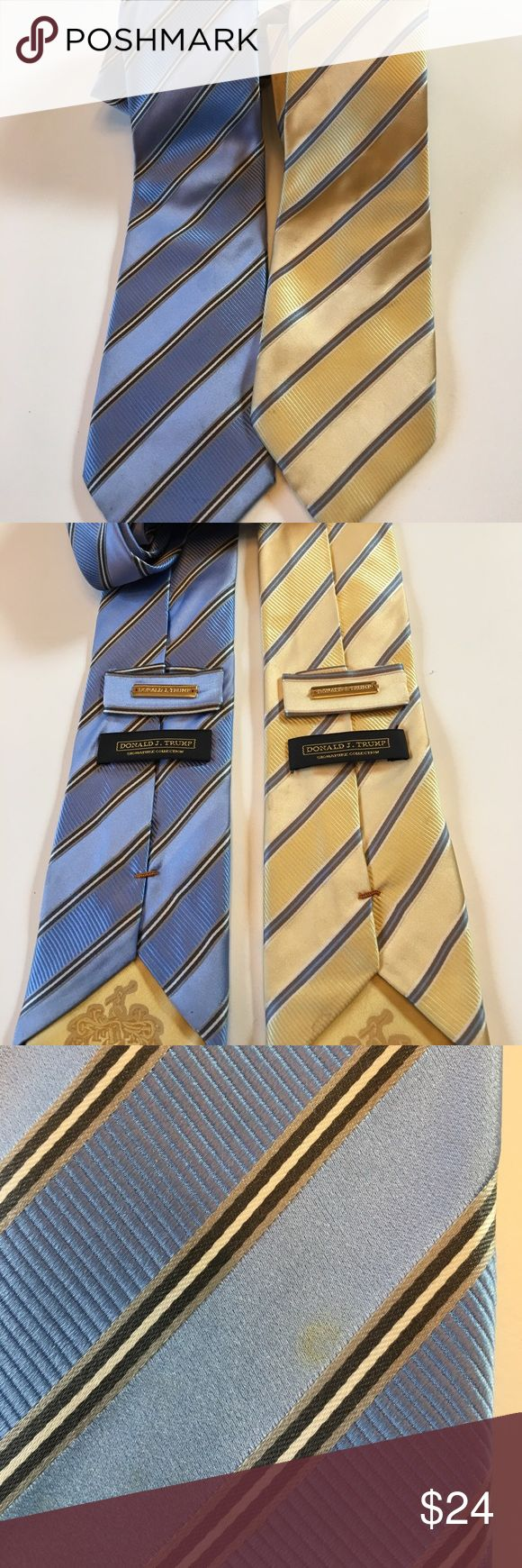 Donald Trump Ties x 3 Please look at pics. Yellow and purple tie have small spots. I have not tried to remove them. Donald Trump Accessories Ties
