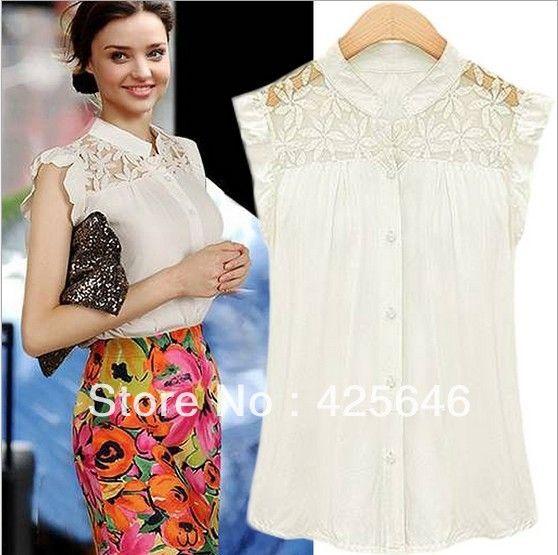 2014 nueva dama de la moda elegante patchwork encaje camisa de ...