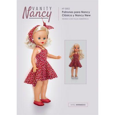 Tutorial en PDF con patrón de vestido para Nancy New y Nancy Colección con tirante al cuello y falda asimétrica.