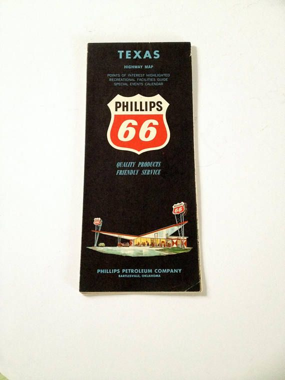 PHILLIPS 66 vintage 1963  Road Map of the State of Texas