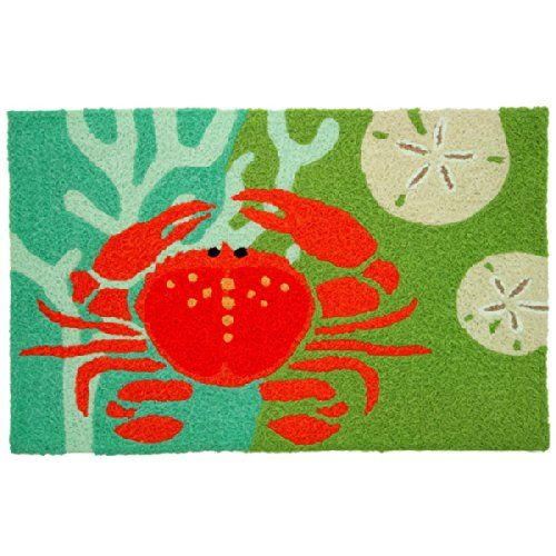 coastal red crab with coral jellybean accent area rug beachfront decor