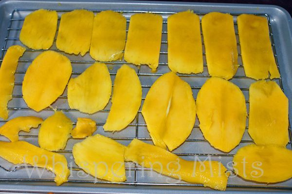 Making dried mangoes in the oven when you don't have a dehydrator. Instead of buying the store bought ones filled with preservatives, make your own! Takes about 3 to 4 hours to do! So tasty!