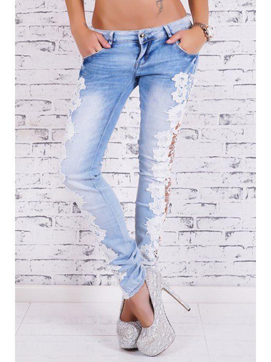 Bleach Wash Lace Spliced Pencil Jeans - LIGHT BLUE S Mobile