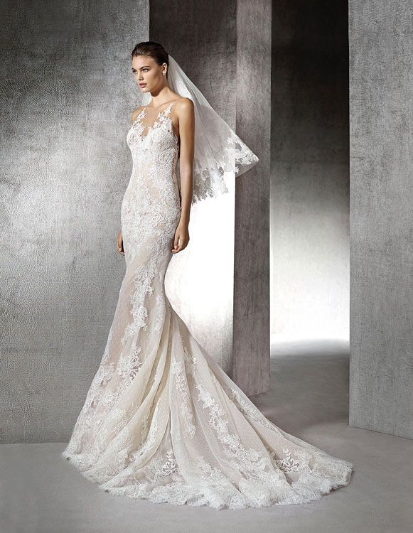 A shear lace halter sheath wedding dress by St. Patrick - Style Zada
