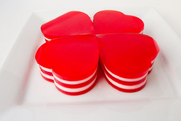 Layered Jello Hearts