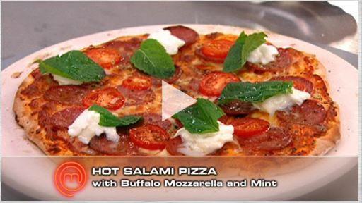 Hot Salami Pizza w/ Buffalo Mozzarella + Mint
