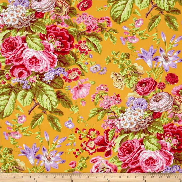 Kaffe Fassett Floral Delight Yellow from @fabricdotcom  Designed by Philip Jacobs for Westminster, this cotton print is perfect for quilting, apparel and home decor accents. Colors include tan, yellow, white, shades of red, shades of pink, shades of green, shades of purple, and shades of orange.