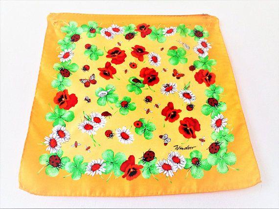 Silk Scarf Windsor Silk Bandana Butterfly Scarf Silk Yellow