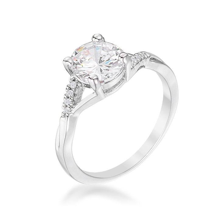 Grizel Silvertone Simple CZ Engagement Ring | 1.3ct