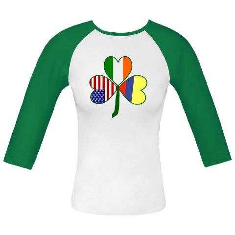 Really fun design helps you celebrate all your heritages on St. Patrick's Day, 4th of July and Colombian holidays. Features a #shamrock with flags of three countries for leaves: #Colombia, USA and Ireland. $23.99 http://ink.flagnation.com from your @Auntie Shoe