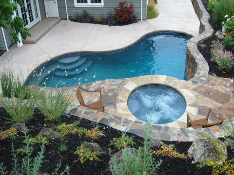 243 best images about small inground pool spa ideas on for Above ground pool decks for small yards