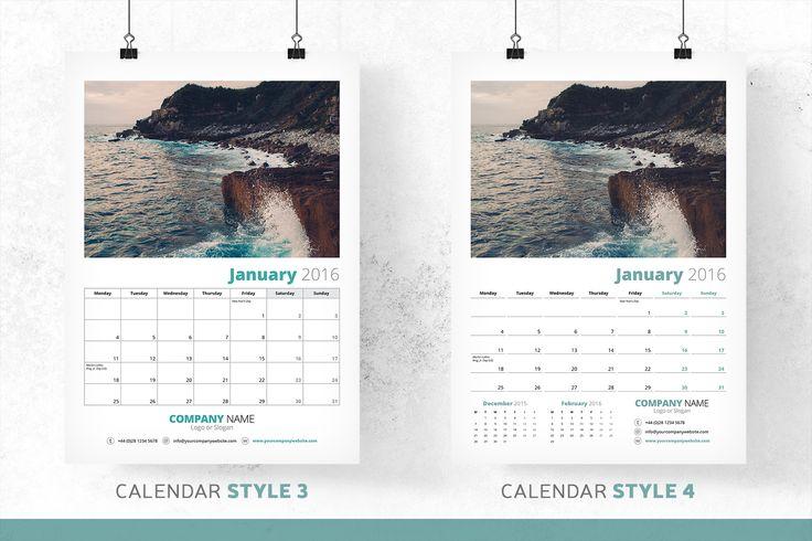 Add Your Own Photography - Art - Illustration - Calendar Bundle - 2016 by bilmaw creative on Creative Market
