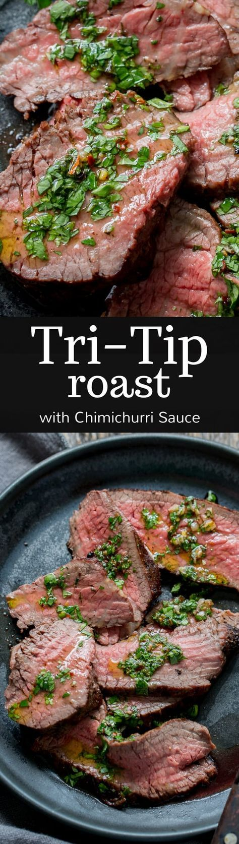 Tri-Tip Roast with Chimichurri Sauce - Chimichurri is a delicious, bright and bold green sauce often used as a condiment for grilled meat like the Tri-Tip roast :  savingroomfordessert   #roast #tritip #chimichurri #dinner #roastbeef