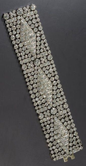 A rare Art Deco platinum and diamond cuff bracelet, 1920s-30s.