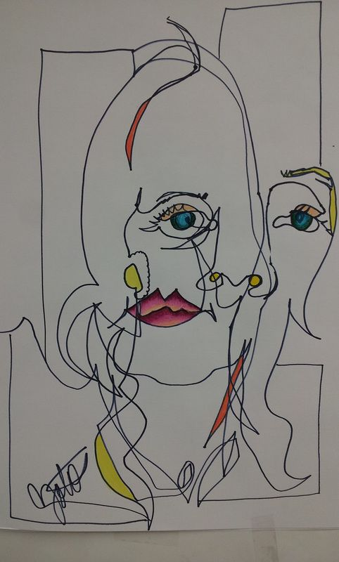 Assignment #7 Blind Contour Drawing of Portrait - Mrs. Zotos Art 1
