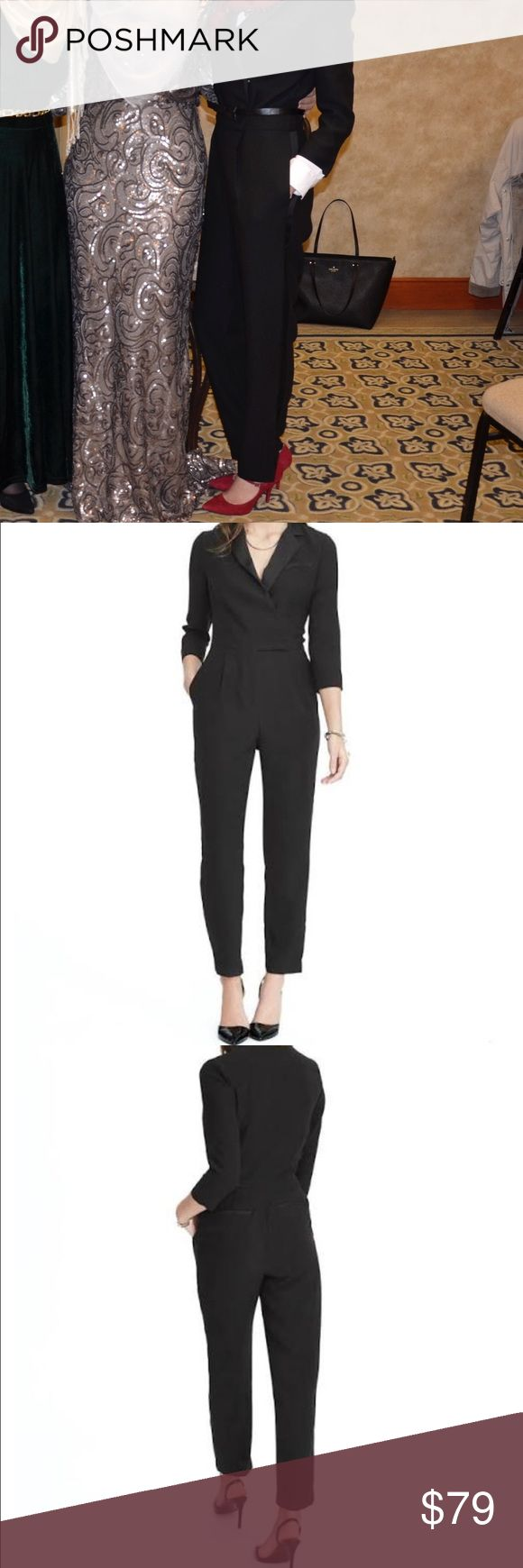 "Banana Republic Tuxedo Long Sleeve Black Jumpsuit Banana Republic, sexy black jumpsuit with black straps lining the sides. Well tailored with a deep v-neck, worn one time, in perfect condition. Size is a 2 TALL. I am 5'8"" (more leggy) and more of a size 0 so it was slightly big on me waist wise but length was perfect! Banana Republic Other"