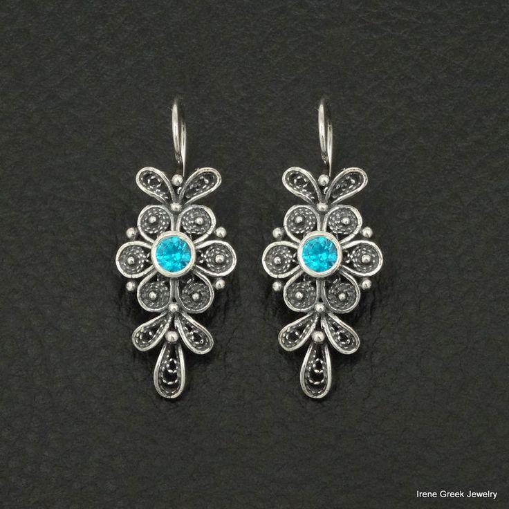 AQUA BLUE TOPAZ CZ FILIGREE FLOWER 925 STERLING SILVER GREEK HANDMADE EARRINGS #IreneGreekJewelry #DropDangle