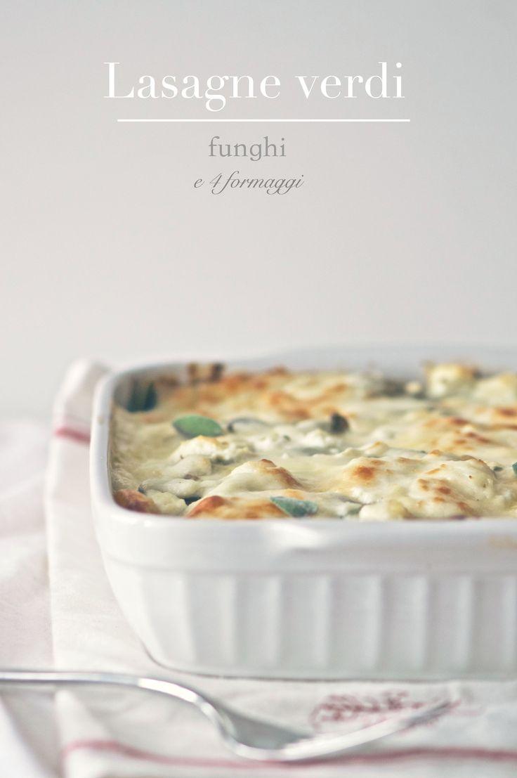 Lasagne verdi con funghi e 4 formaggi