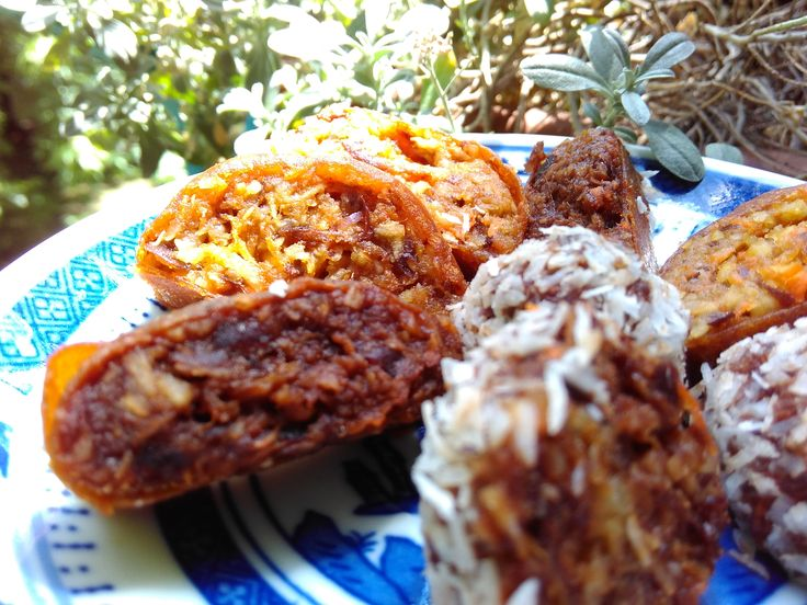 Shredded coconut and carrot, fresh dates in dehydrated apple sheets or just in ball form