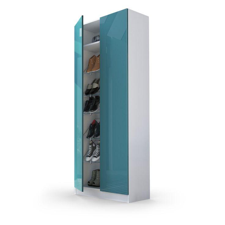 Vaasa Schuhschrank - alle Schuhe optimal hinter schlichten Hochglanzfronten verstaut mit dieser eleganten Lösung von vladon.de