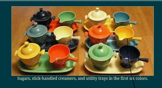 Vintage Fiestaware; the first six colours