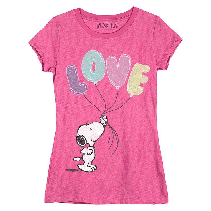 Girls' Snoopy T-Shirt, Size: XL(14-16), Pink