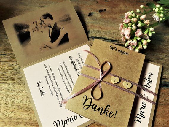 10x Dankeskarte Hochzeit Vintage Altrosa Personalisiert Individualisiert Danksagung Wir Sagen Danke Karten Hochzeit Kraftpapier Book Cover Gifts Gift Wrapping