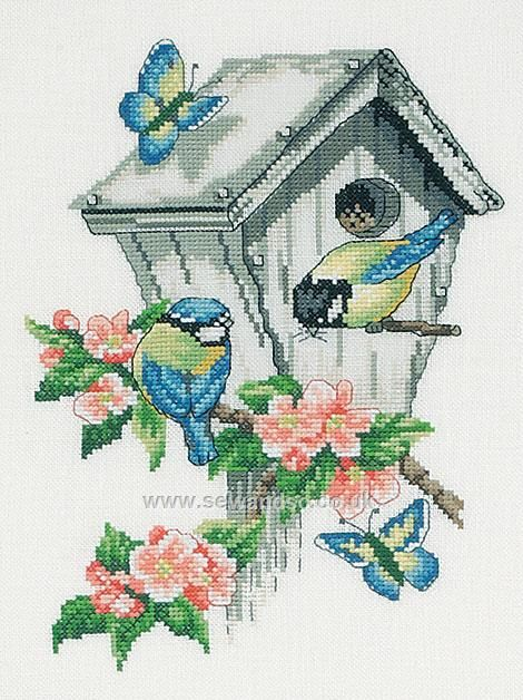Buy Birdhouse Cross Stitch Kit Online at www.sewandso.co.uk