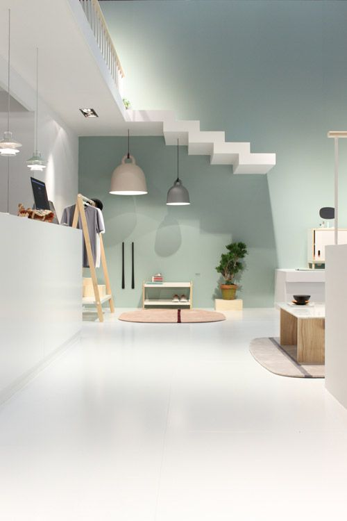 Floating stairs in the Normann Copenhagen booth at Salone | Creative Retail Design & Visual Merchandising