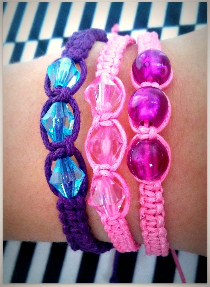 Handmade plaited bracelet. Doll and girl accessories. Pink and purple match